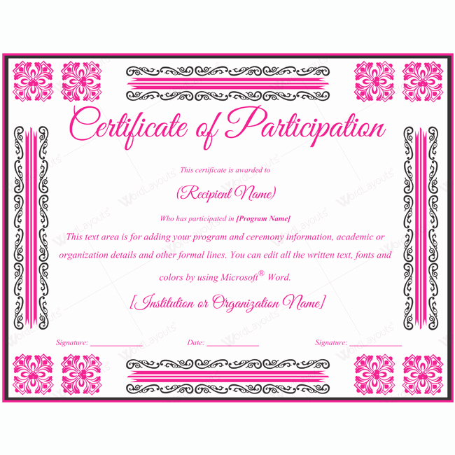Participation Award Certificate Template Elegant Certificate Of Participation 02
