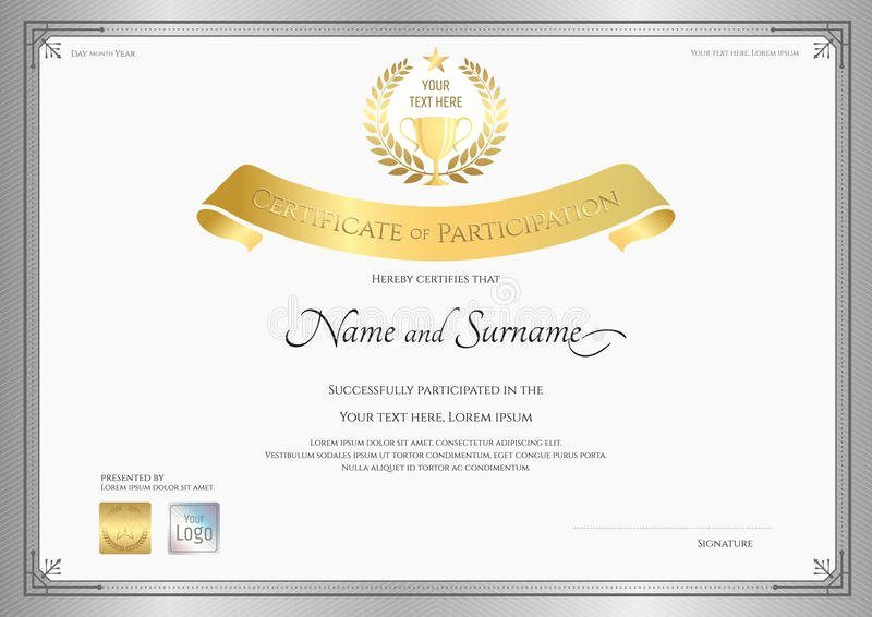 Participation Award Certificate Template Elegant Certificate Participation Template In Silver Border