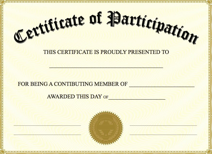 Participation Award Certificate Template Fresh Certificate Of Participation Templates