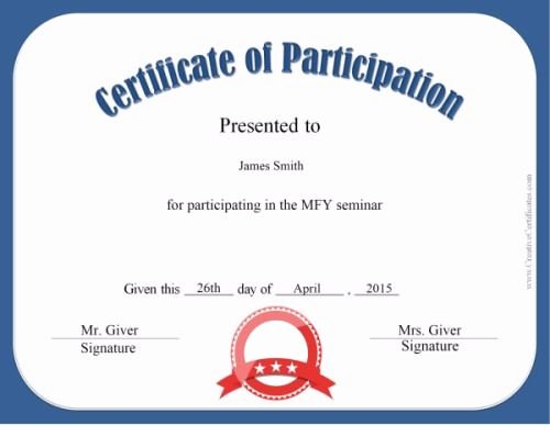 Participation Award Certificate Template Inspirational Certificate Of Participation Elements