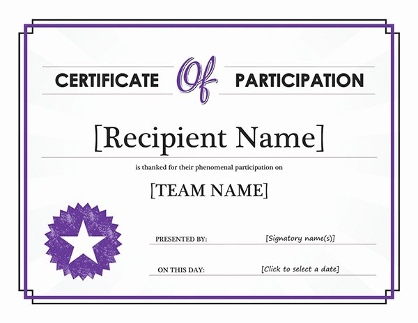 Participation Award Certificate Template Inspirational Free Program Microsoft Fice Awards Templates