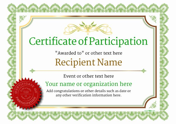 Participation Award Certificate Template Inspirational Participation Certificate Templates Free Printable Add