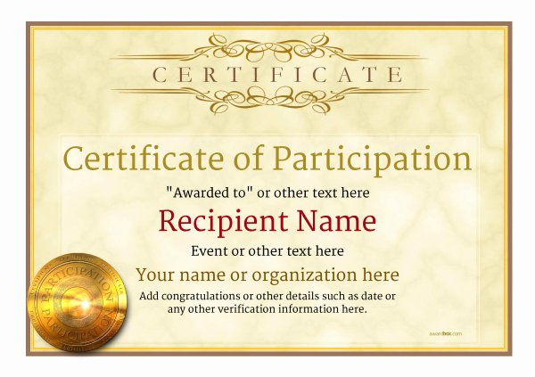 Participation Award Certificate Template Luxury Participation Certificate Templates Free Printable Add