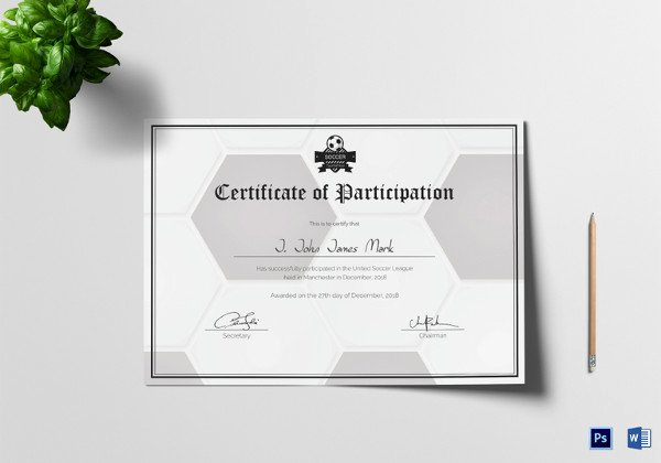 Participation Award Certificate Template New Printable Sports Certificates