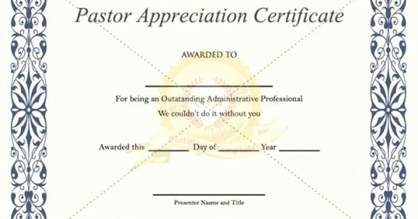 Pastor Appreciation Certificate Template Free Beautiful if You Want to Appreciate A Pastor or Preacher for Your