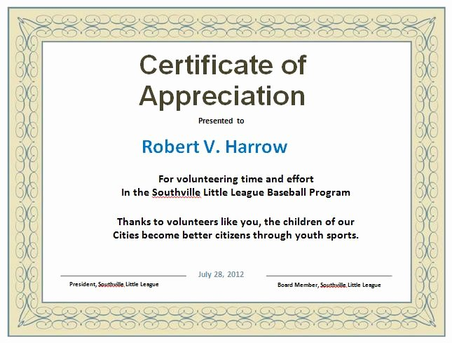 Pastor Appreciation Certificate Template Free Luxury 31 Free Certificate Of Appreciation Templates and Letters