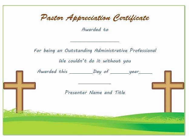 Pastor Appreciation Certificate Template Free Unique Pastor Anniversary Appreciation Certificate
