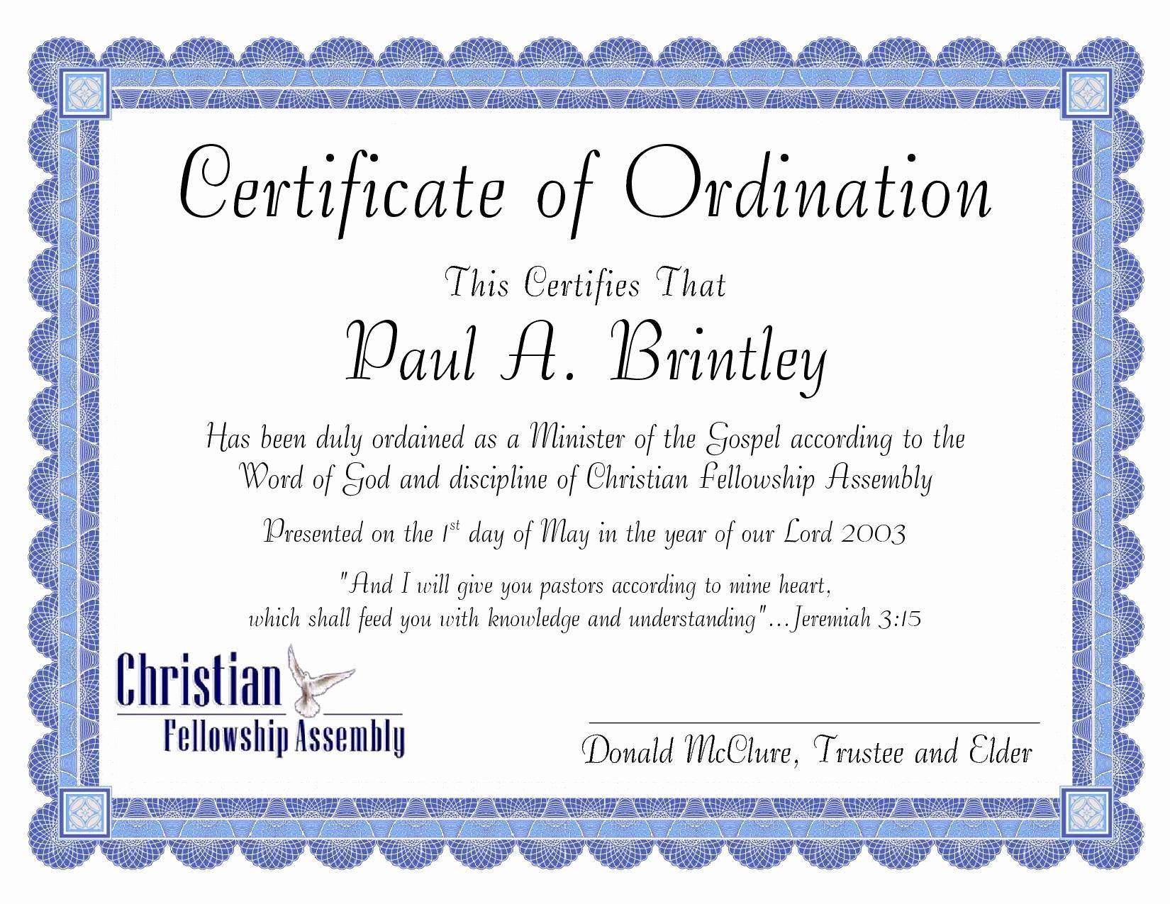Pastor ordination Certificate Template Fresh Pastoral ordination Certificate by Patricia Clay issuu