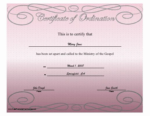 Pastor ordination Certificate Template New Certificate ordination Free Printable Certificates
