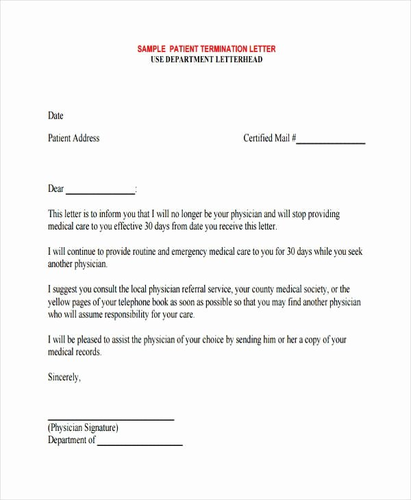 Patient Dismissal Letter Dental Fresh Free 60 Termination Letter Examples & Samples In Pdf