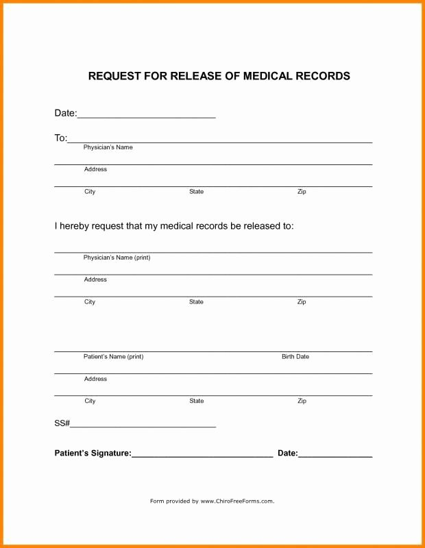Patient Record Release form Elegant Blank Medical Records Release form