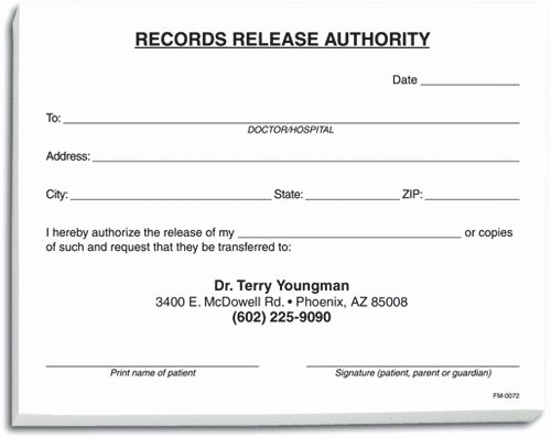 Patient Record Release form Elegant Dental Notepads