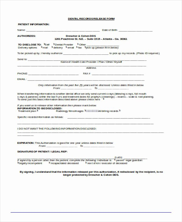 Patient Record Release form Lovely Free 18 Free Patient Release forms