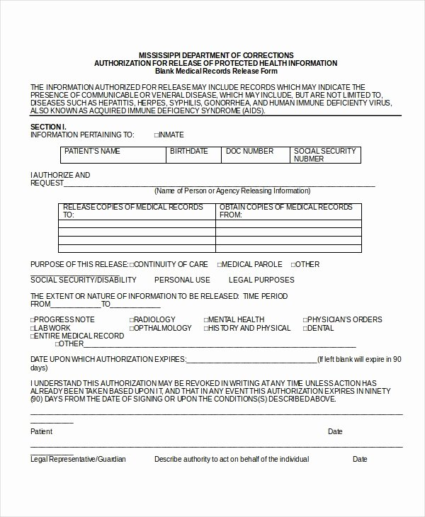 Patient Record Release form Luxury 10 Medical Release forms Free Sample Example format