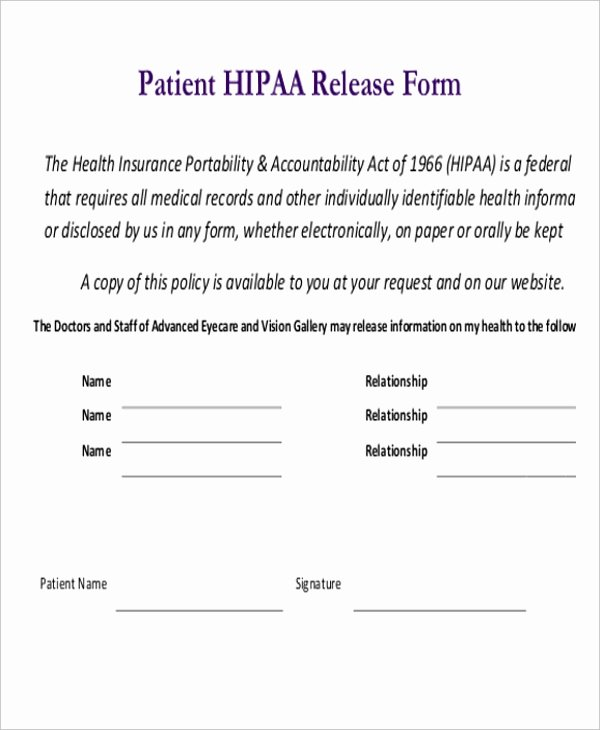 Patient Record Release form Luxury Free 10 Sample Hipaa Release forms