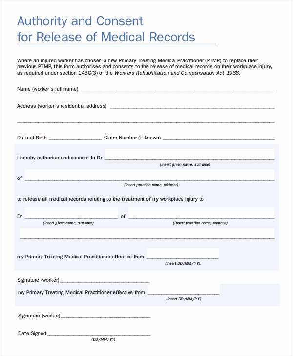 Patient Record Release form New Sample Medical Records Release form 9 Examples In Pdf Word