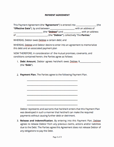 Payment Agreement Between Two Parties Elegant Contract Templates and Agreements with Free Samples