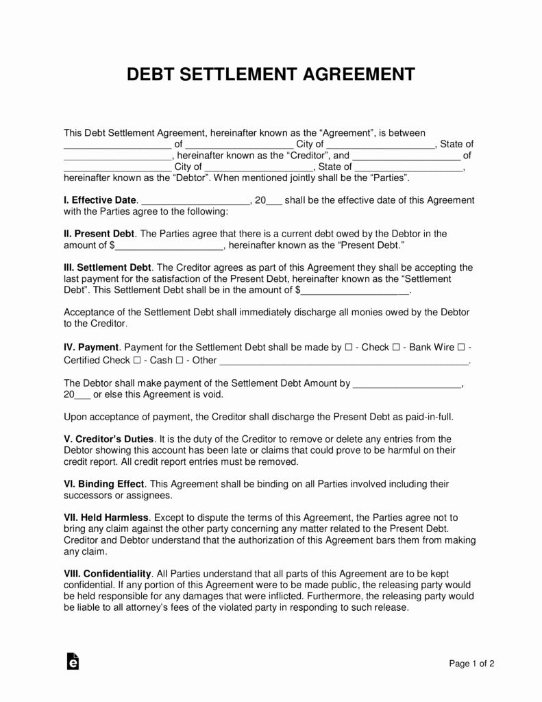 Payment Settlement Letter Awesome Free Debt Settlement Agreement Template Sample Word