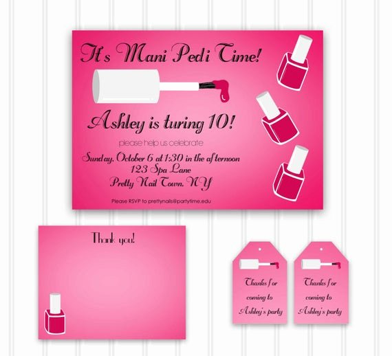 Pedicure Gift Certificate Template Beautiful Custom Manicure Party Invitation Mani Pedi Party Set Instant
