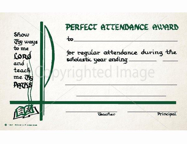 Perfect attendance Award Certificate Elegant Perfect attendance Award School Certificate Renovar Designs