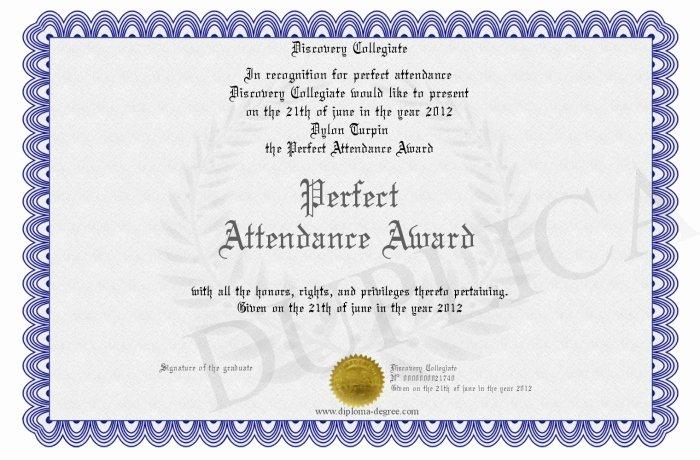 Perfect attendance Award Certificate Fresh Perfect attendance Award