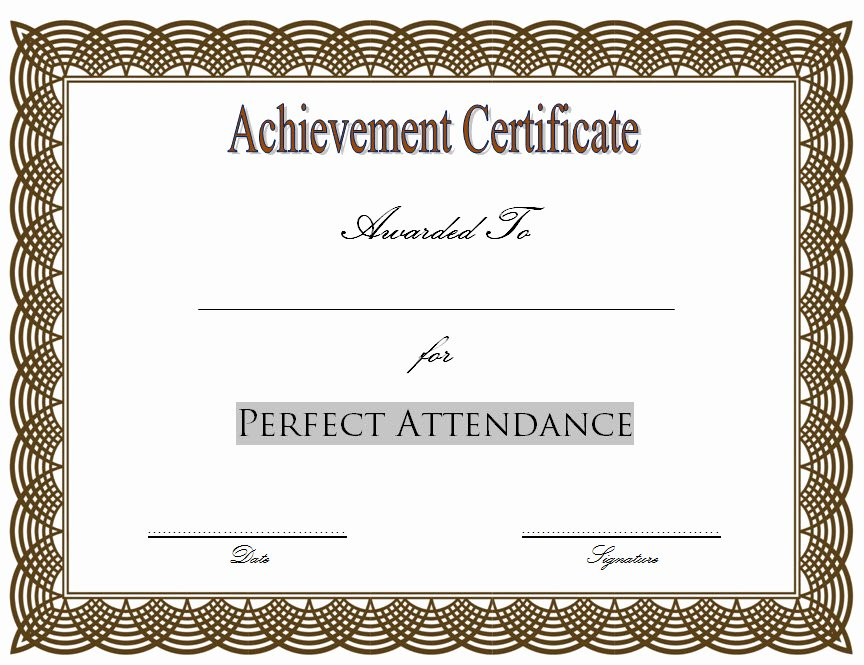 Perfect attendance Award Certificate Luxury 8 Printable Perfect attendance Certificate Template Designs
