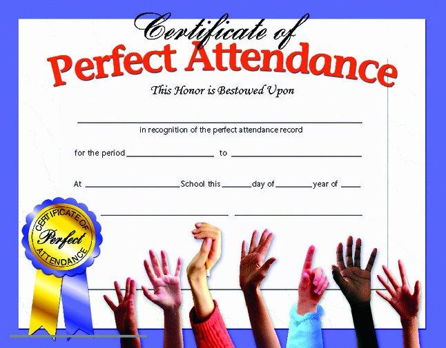 Perfect attendance Award Certificate Luxury Hayes Perfect attendance Certificate 8 1 2 X 11 In Paper