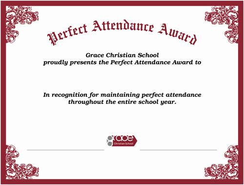 Perfect attendance Award Certificate New Perfect attendance Award Standard Size On 80 Lb White