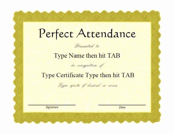 Perfect attendance Award Printable Beautiful 40 Printable Perfect attendance Award Templates & Ideas