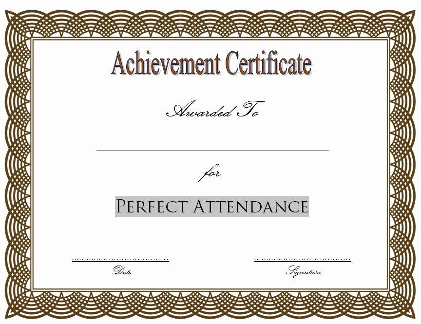 Perfect attendance Award Printable Beautiful 8 Printable Perfect attendance Certificate Template Designs