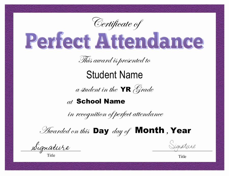 Perfect attendance Award Printable Beautiful Certificate Of attendance Free Certificate Of attendance