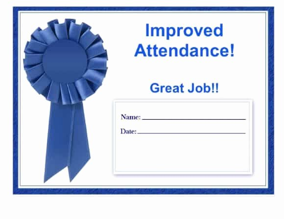 Perfect attendance Award Printable Fresh 40 Printable Perfect attendance Award Templates & Ideas