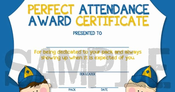 Perfect attendance Award Printable New Cub Scouts Perfect attendance Award Certificate Instant