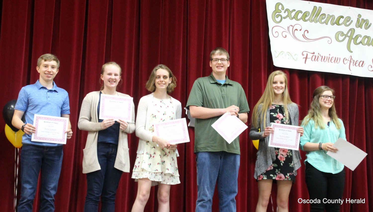 Perfect attendance Award Speech Inspirational Fairview area Schools Honors Students Oscoda County Herald