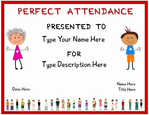 Perfect attendance Award Speech Luxury Education Certificate Certificate for Perfect attendence