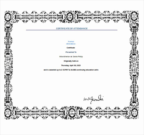 Perfect attendance Award Template Awesome 11 Word Award Templates Download Psd Ai Word