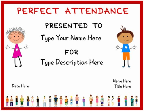 Perfect attendance Award Template Awesome Education Certificates Certificate for Perfect