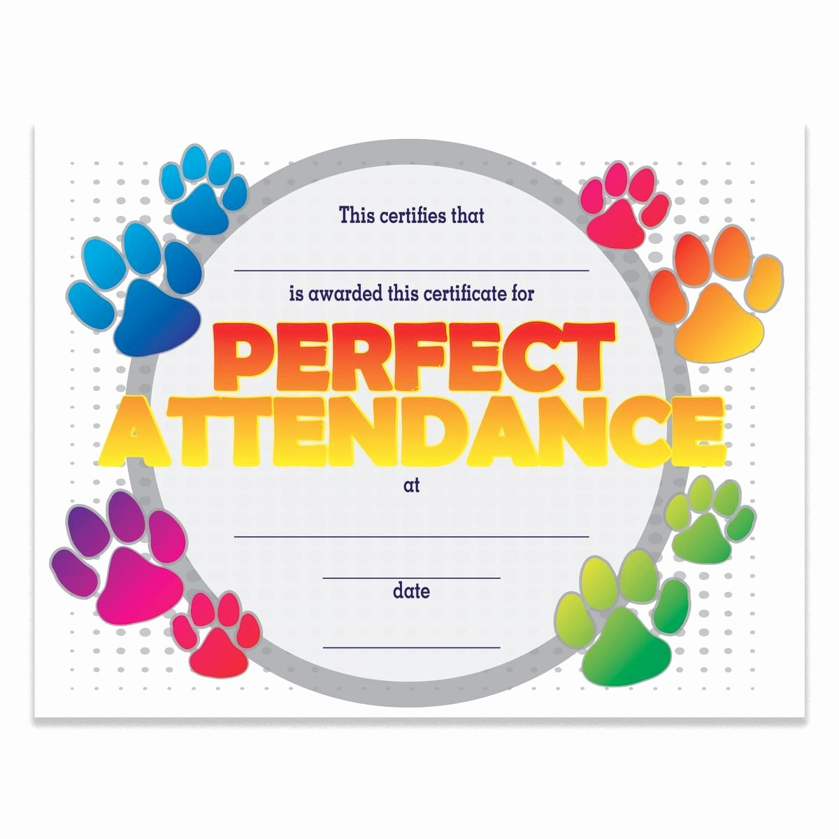 Perfect attendance Award Template Awesome Paw Perfect attendance Certificates Pack