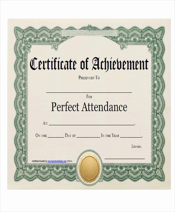 Perfect attendance Award Template Best Of 21 Award Certificates Samples & Templates Word Psd Ai