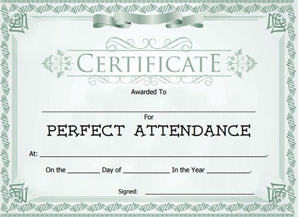 Perfect attendance Award Template Elegant attendance Certificate Templates