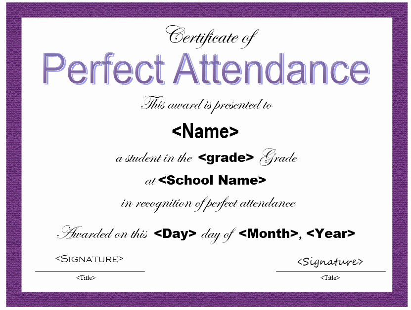 Perfect attendance Award Template Free Beautiful 13 Free Sample Perfect attendance Certificate Templates