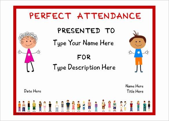Perfect attendance Award Template Free Elegant attendance Certificate Templates