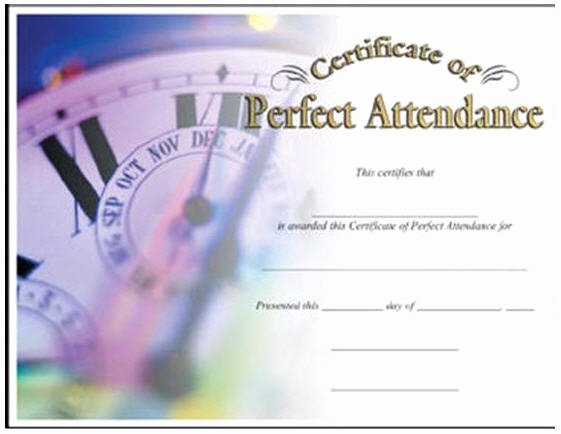 Perfect attendance Award Template Free Inspirational Perfect attendance Certificate
