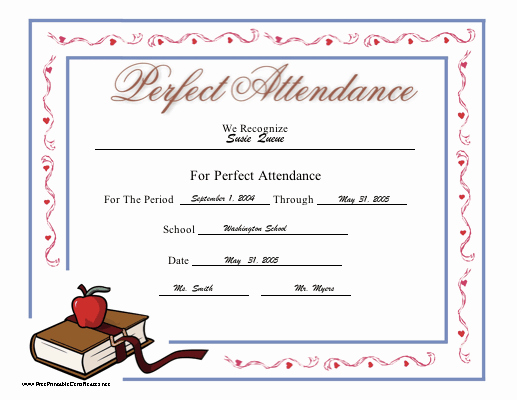 Perfect attendance Award Template Free Inspirational Perfect attendance Certificate Printable Certificate