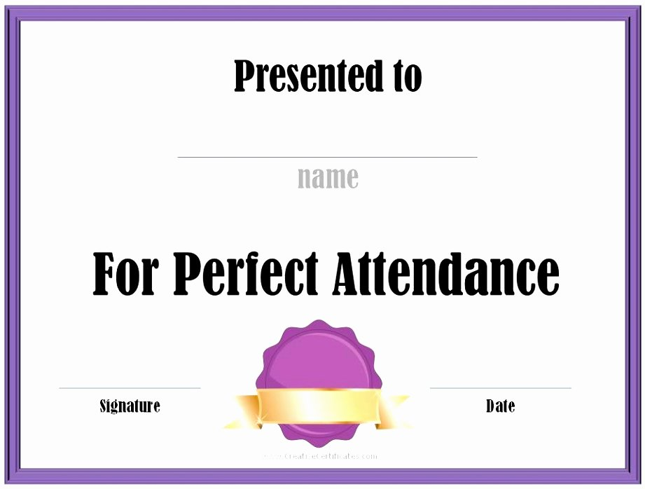 Perfect attendance Award Template Free Luxury Perfect attendance Award Certificates Sample Free