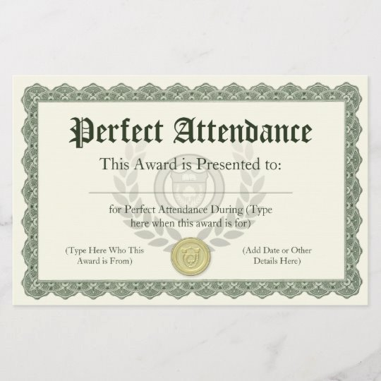 Perfect attendance Award Template Free Unique Perfect attendance Award Certificate Customisable