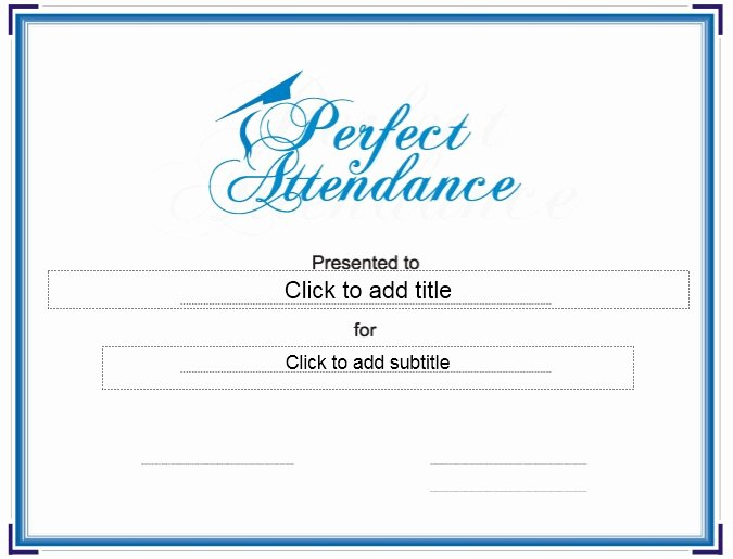 Perfect attendance Award Template Lovely 13 Free Sample Perfect attendance Certificate Templates