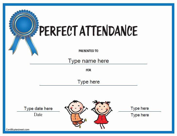 Perfect attendance Award Template Luxury Education Certificates Perfect attendance