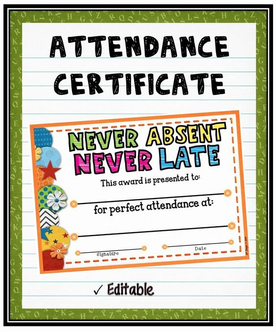 Perfect attendance Award Wording Awesome attendance Certificate attendance and Student On Pinterest