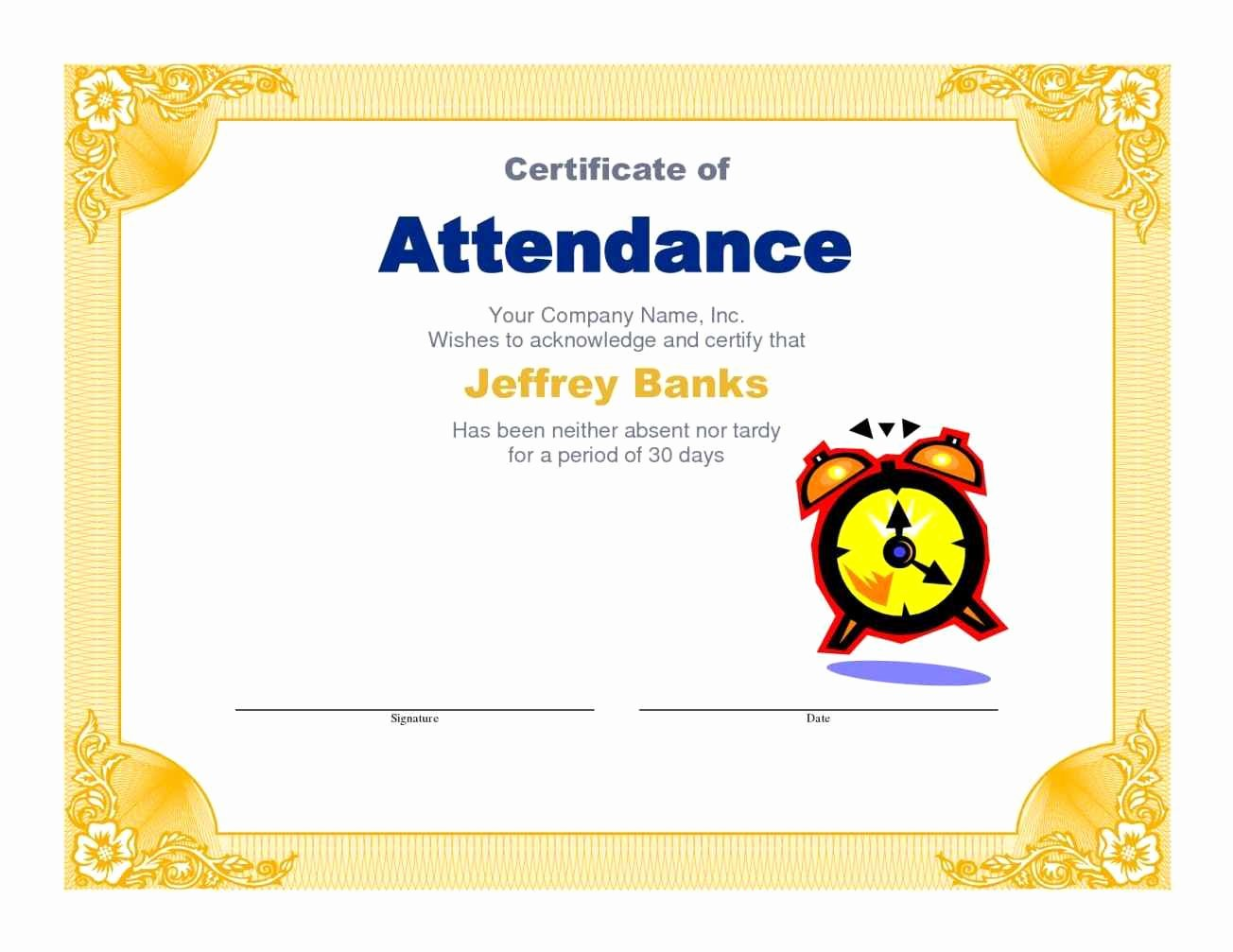 Perfect attendance Award Wording Elegant Free Perfect attendance Certificate Template Update234